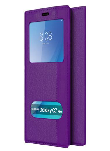 Microsonic Samsung Galaxy C7 Pro Kılıf Dual View Gizli Mıknatıslı Mor Mor